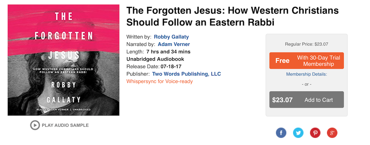 Get The Forgotten Jesus on Audiobook for FREE
